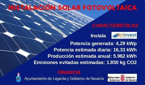 El Ayuntamiento de Legarda instala un sistema de bomba de calor y módulos solares fotovoltaicos en edificios municipales